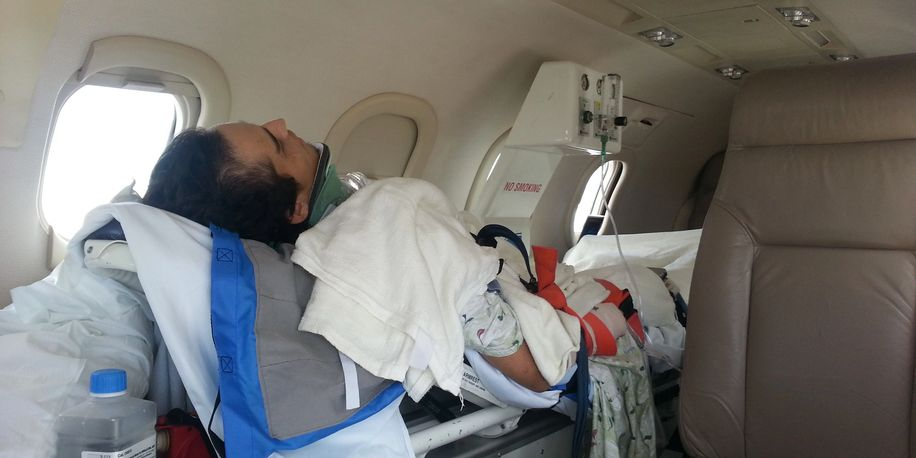 Patient in a private air ambulance
